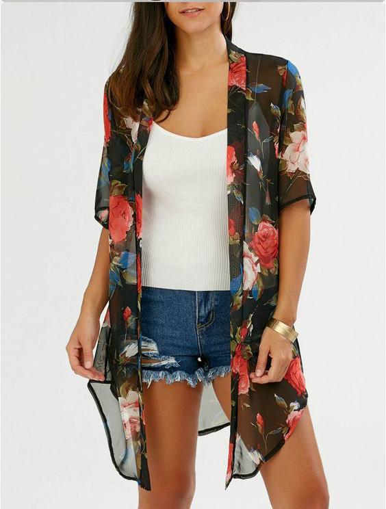 Printed Ladies Short Beach Robe in Georgette - Beach Wear Ready To Wear Manufacturer