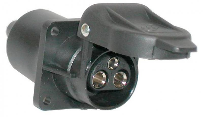 Socket 3-pol.12V/4-hole-flat pin - 4-hole flange