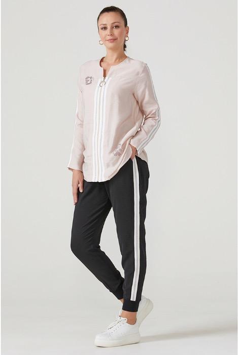 Plus Size Women's Front Zipper Tracksuit Set  -