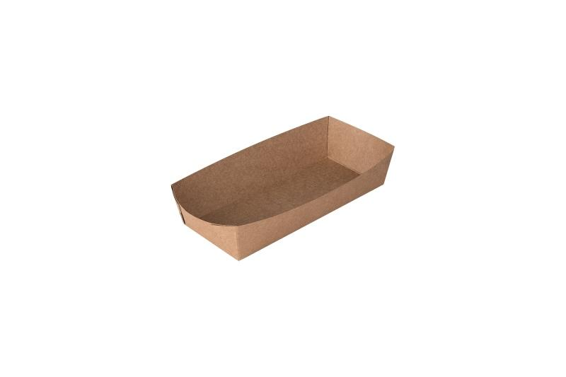 Hot-dog tray «Pure Kraft» - Kraft tray for hot-dogs, deep brown colour