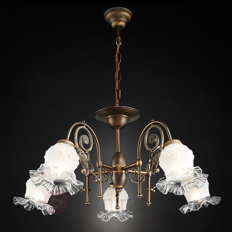 Lustre Ringstrasse à cinq lampes, patine vieillie - Lustres classiques,antiques