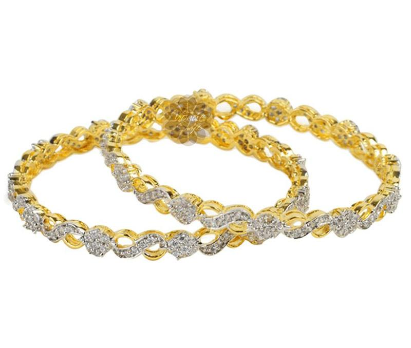 Designer Gold and Diamond Pair of Bangles -