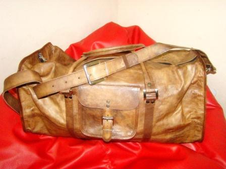 Leather Travel Bag - Square Carry Duffel Travel Bag