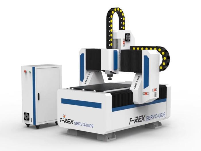 Servomotoren Fräse T-Rex Servo-0609 - CNC Fräse mit Zahnstangen, Stahlgestell und Faltenbelägen