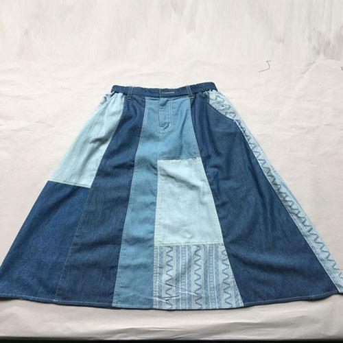 Long denim skirt Stonewashed long blue denim patchwork -
