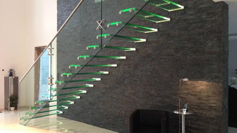 All glass stairs - Mistral glass stair with LED