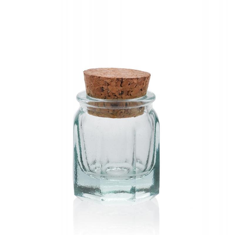 24 Mini bocaux 39 ml Octogonaux avec bouchon en liège - Mini bocaux
