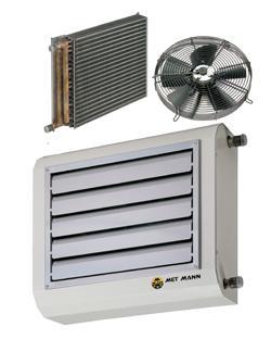 Aerotermos de aire caliente con batería de agua 20 kW a 106  - aerotermos de agua caliente de 20 a 106 kW