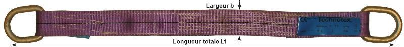 Sangles plates en polyester - Sangle plate à 2 attaches métalliques simples