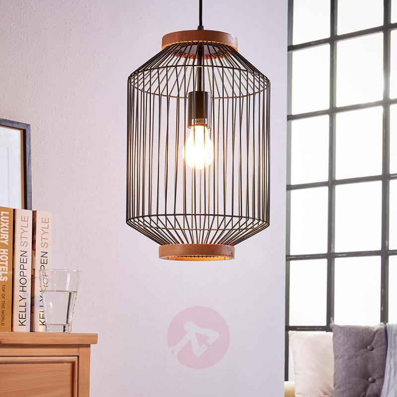 Interesting hanging lamp Ceris, in shape of cage - indoor-lighting