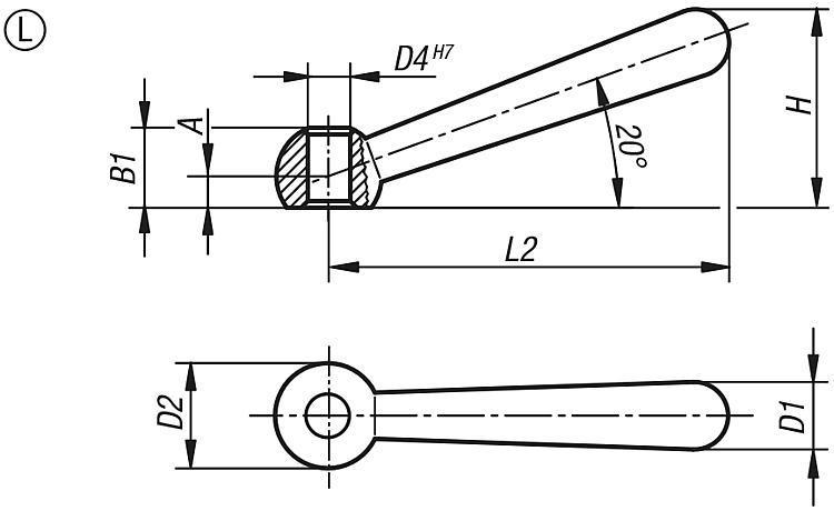 Manette 20° DIN 99 - Leviers de blocage, manettes indexables