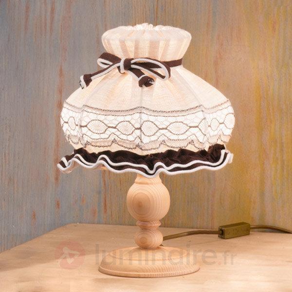 Lampe à poser Elsa en tissu ornée de broderies - Lampes à poser en tissu