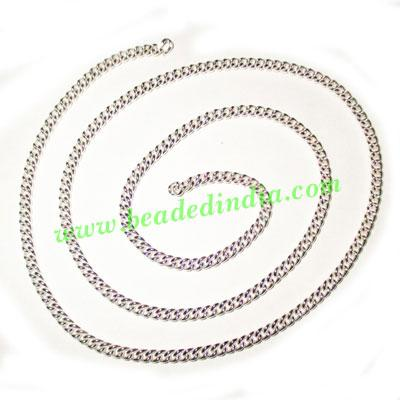 Silver Plated Metal Chain, size: 1x3mm, approx 36.3 meters i - Silver Plated Metal Chain, size: 1x3mm, approx 36.3 meters in a Kg.