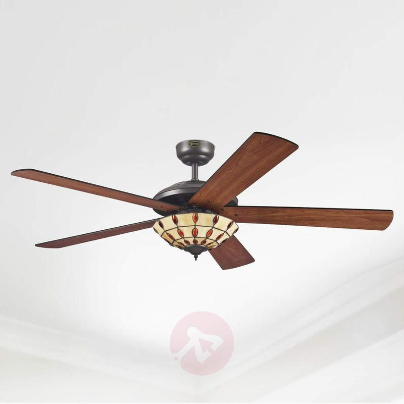 Comet T ceiling fan with a Tiffany-style lampshade - fans