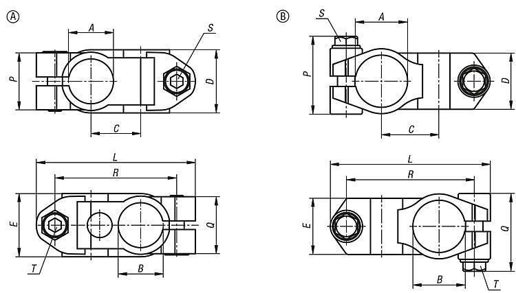 Morsetto a croce acciaio inox - K0472