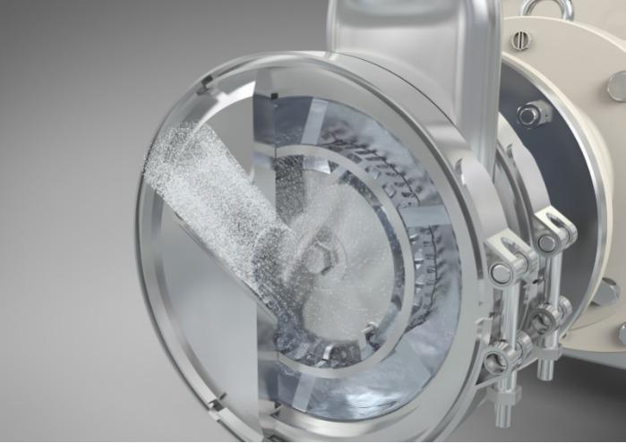 Pulverfugtningsmaskine - Indsugning, suspendering og løsnen af pulvere i væsker med næsten ingen støv