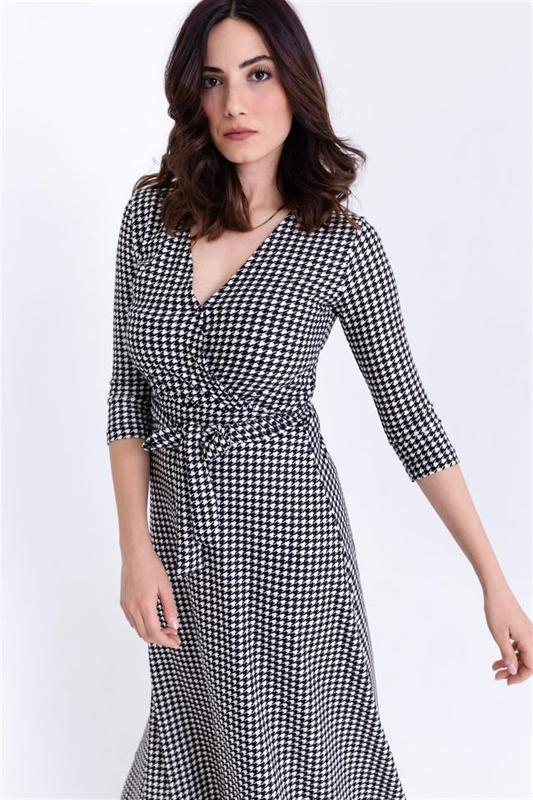 Woman Black Crowbar Collar Double-breasted Patterned Dress - Long Dress