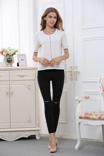 Women's round collar long sleeve W1602