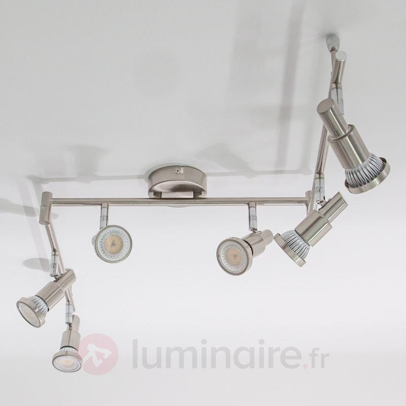 Plafonnier LED Aron aspect nickel à 6 lampes - Plafonniers LED