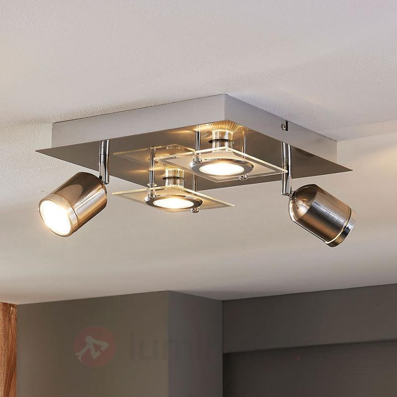 Plafonnier LED carré Fjolla à 4 lampes - Spots et projecteurs LED