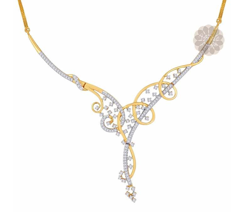 Gold and Diamond Swirl Necklace -
