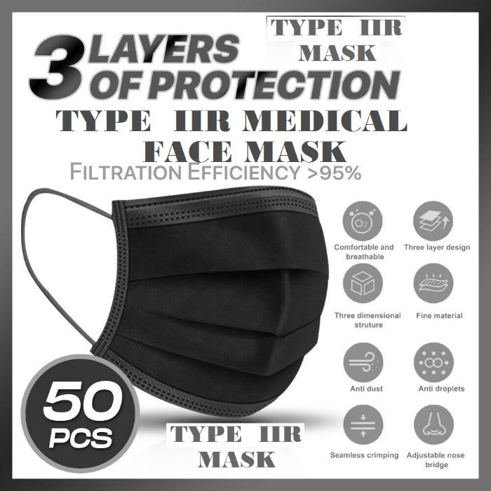 Type IIR mask disposable medical protective face mask - EN14683 Type IIR Disposable Medical Face Mask black colour non woven