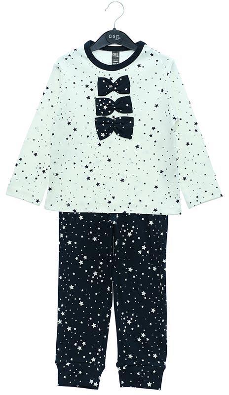 50029-CIGIT Üç Fiyonklu Pijama Takımı İnterlok 2-9 yaş