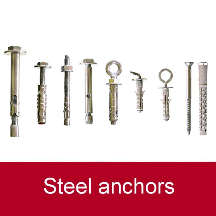 Steel anchors - Easy to install. For medium and heavy loads