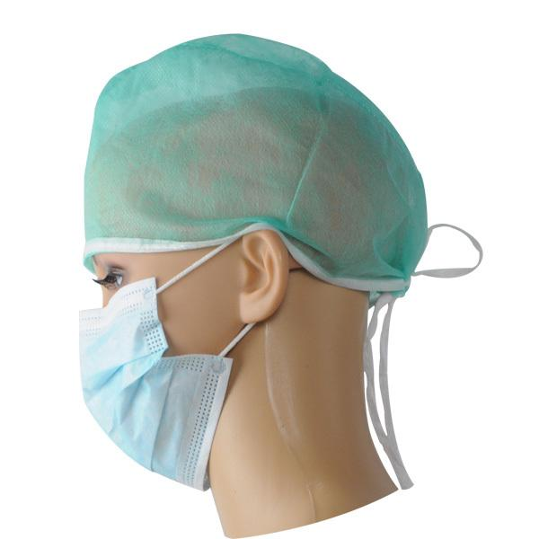 Disposable surgical caps with tie