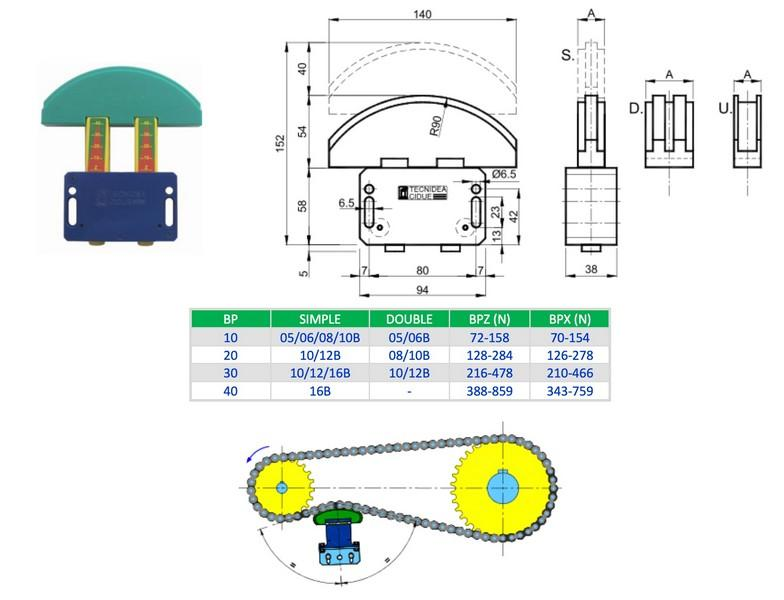 Tendeur de chaînes à rouleaux série TENJOY - Tendeur de chaînes à rouleaux série TENJOY
