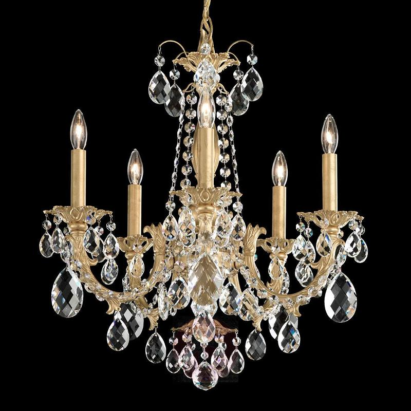 Alea - chandelier with crystals and gold finish - Pendant Lighting