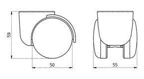 "Reinforced copolymer ""H"" type hard treads ADAPTO ® Ø... - CASTOR EMI Ø mm. 50 ""GEMIBASE"" + ""ADAPTO""®"