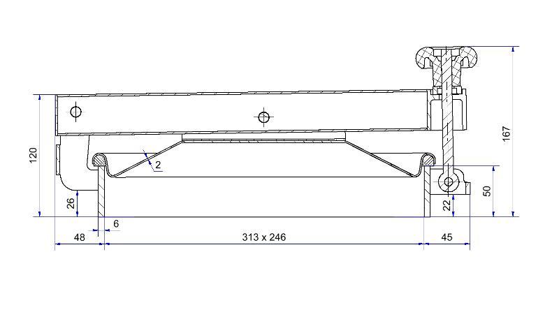 Porte rectangulaire ouverture extérieure - Porte rectangulaire 310 x 245 mm horizontale à 1 bras - H05-245-H-82
