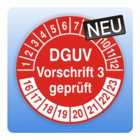 Prüfplakette DGUV Vorschrift 3 geprüft - Farbe: schwarz rot grün blau violett gelb braun grau silber
