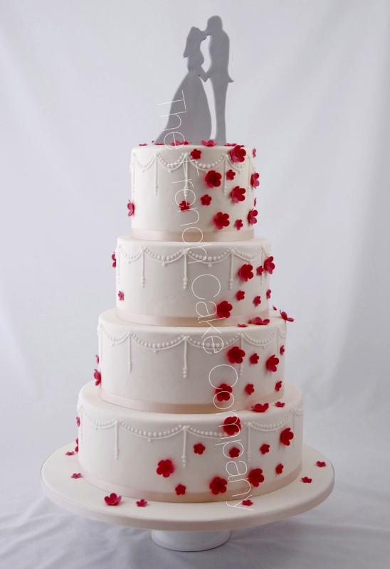 Gâteaux et Pièces Montées sur-mesure - Gâteau mariage fleurs perles
