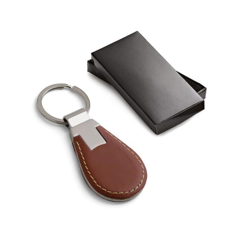 Porte-clés brun simili cuir et métal - Porte-clés métal