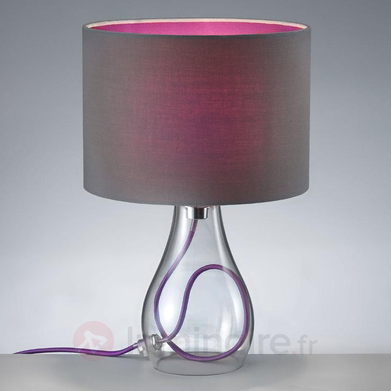 Lampe à poser Naila, abat-jour gris-violet - Lampes à poser en tissu