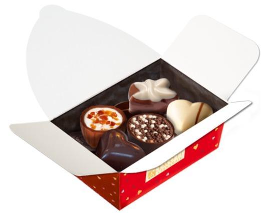 EMOTI Red Ballotin Assorted Chocolates, 110g. SKU -