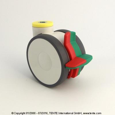 Roulette pivotante avec blocage combiné -