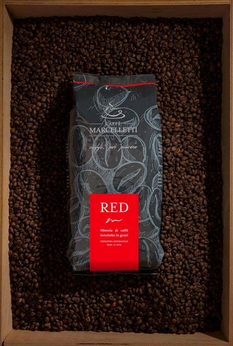 Coffee Marcelletti - RED 1 Kg - Roasted Coffee Beans - 50 Arabica 50% Robusta