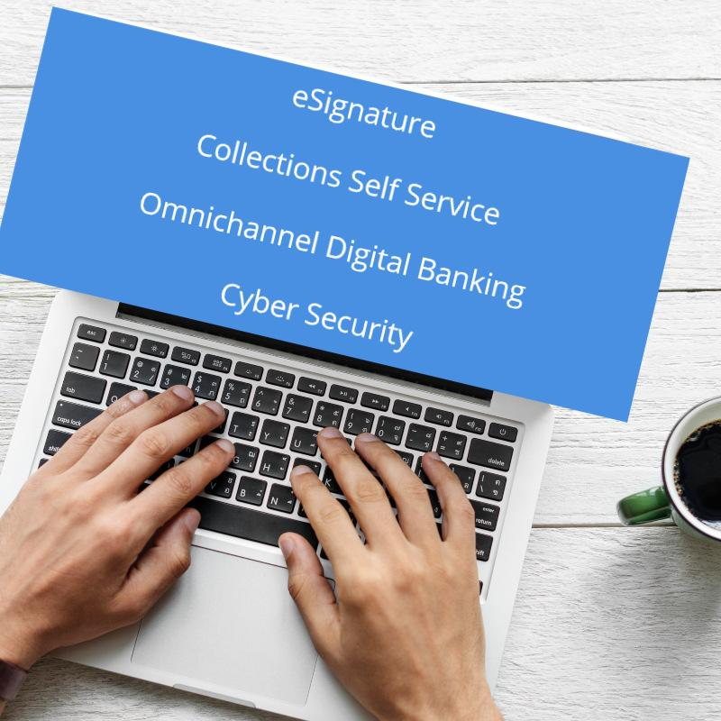 Software for financial institutions - eSignature, Collections, Omnichannel digital banking, Cyber Security