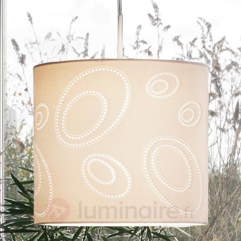 Suspension ronde INDO de couleur beige - Suspensions en tissu