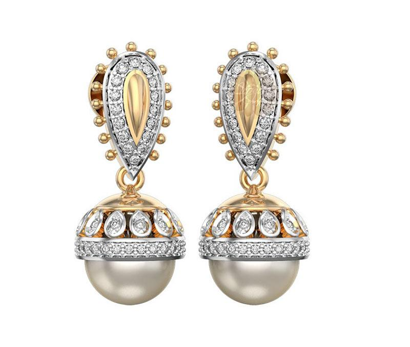 Diamond and Pearl Jhumka Earrings -