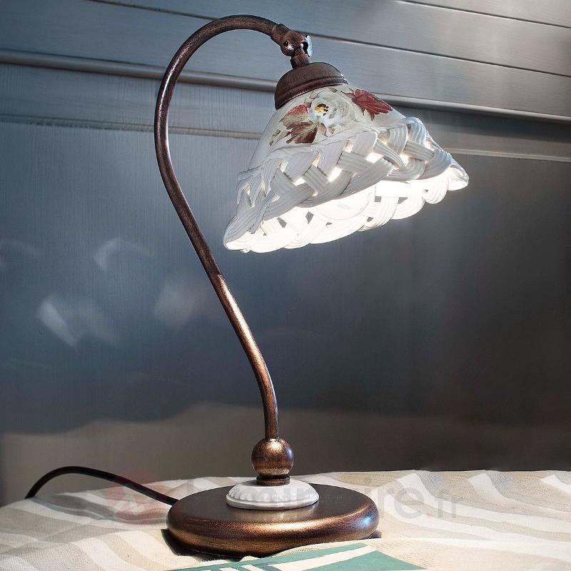 Lampe à poser Terni avec abat-jour en céramique - Lampes à poser rustiques