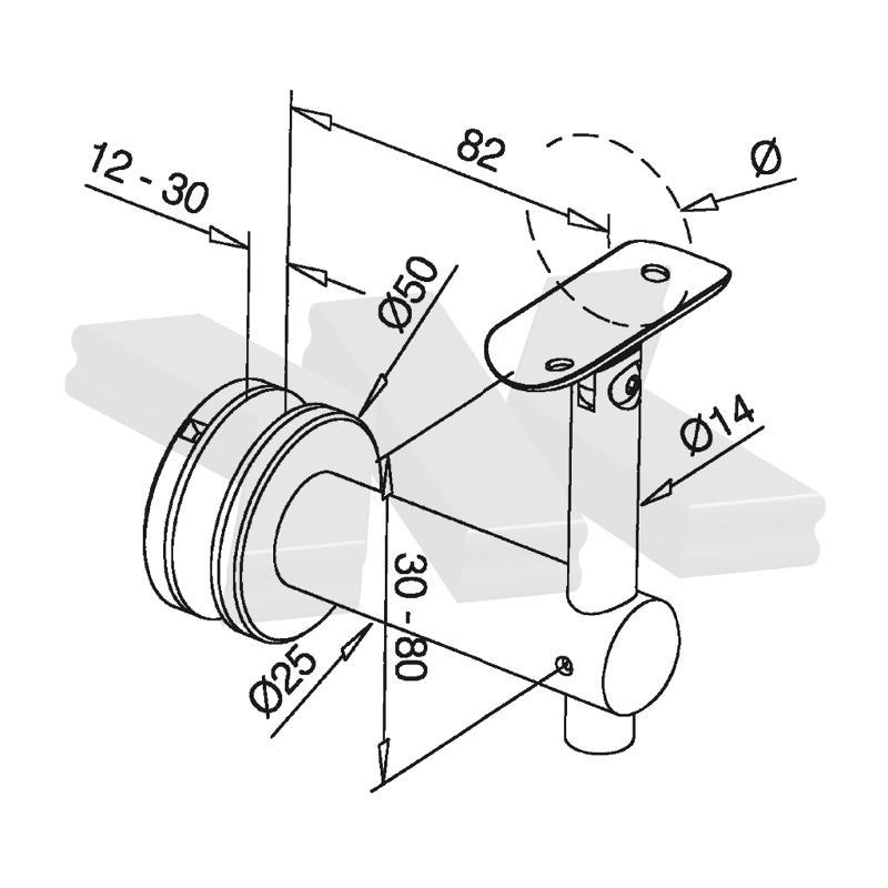 Handrail bracket for glass installation, flexible, for 12-30 mm glass - Handrail brackets