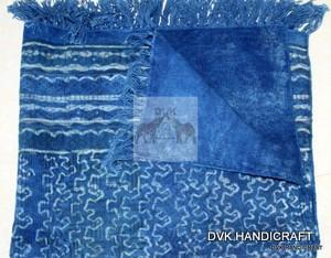 Indigo blue cotton rugs and carpet - handmade cotton carpet and rugs, indigo blue dabu printed
