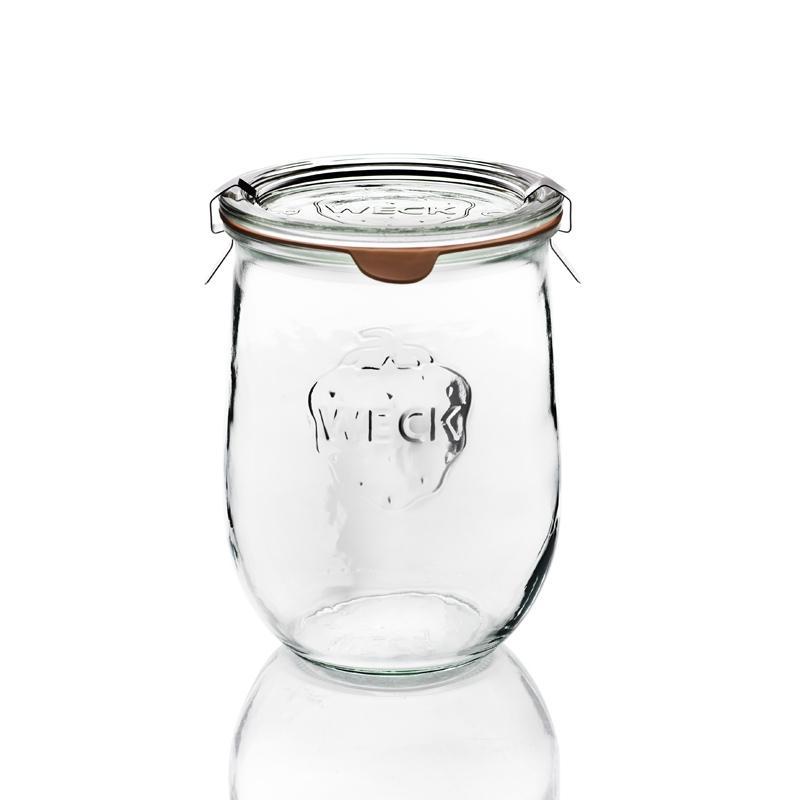Tarros WECK COROLLE® - 6 tarros en vidrio WECK Corolle® 1062 ml con tapas en vidrio y gomas (clips no
