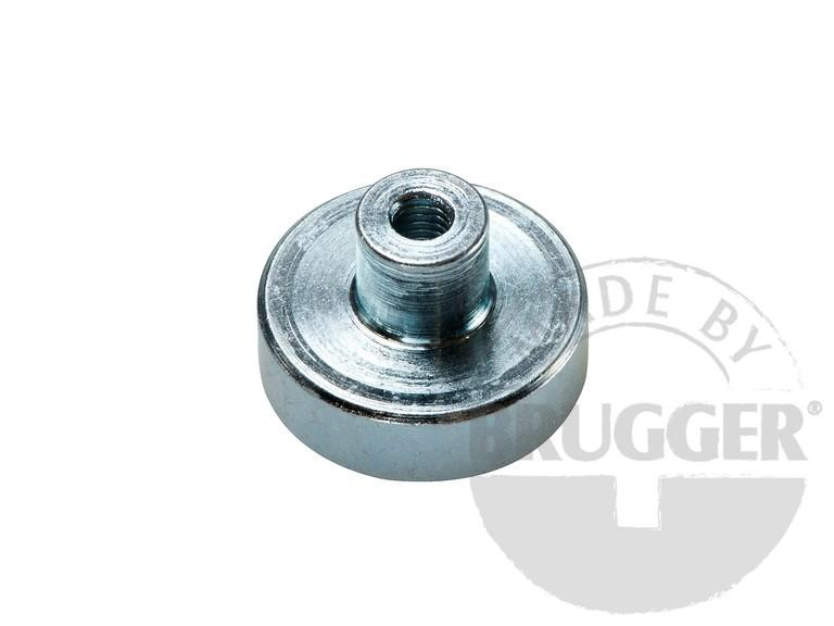 Flat pot magnets NdFeB, with screwed bush, galvanized - null