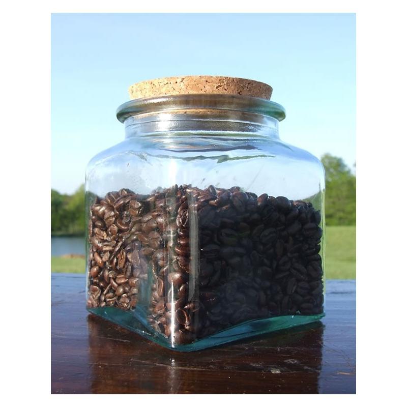 6 bocaux Carrés 500 ml en verre avec bouchon en liège - Pots en verre Carrés