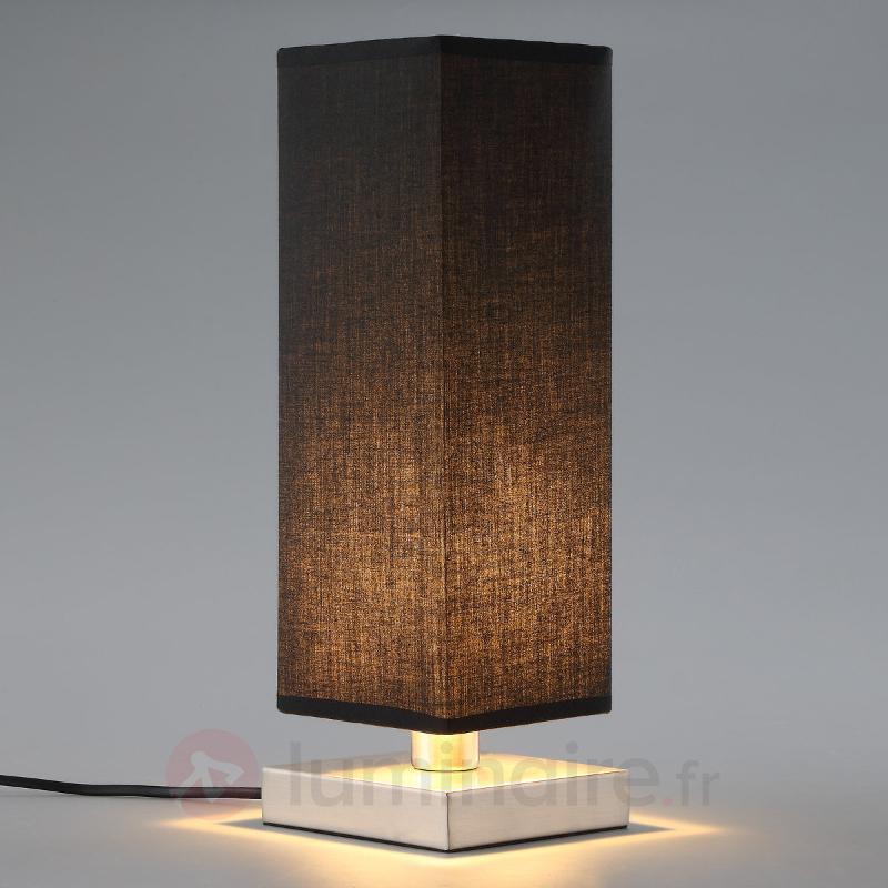 Lampe à poser en tissu noir Martje avec LED - Lampes à poser en tissu
